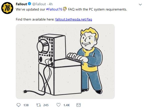 Bethesda updates Fallout 76 B E T A  FAQ with PC