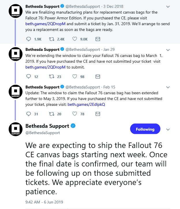 The saga of the canvas bags about to end for Fallout 76