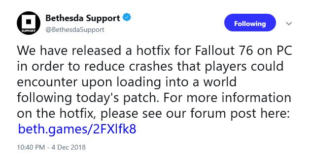 Fallout 76 PC players need additional hotfix for crash bug