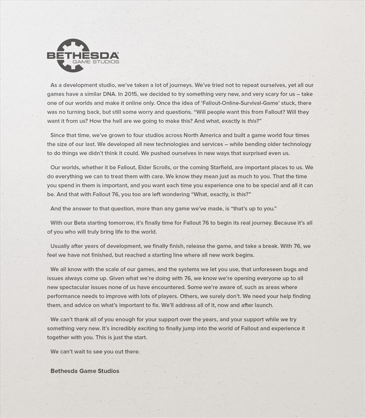 Bethesda Game Studios pens letter to fans setting B.E.T.A.