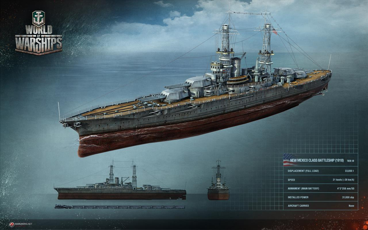 New World of Warships screenshots of New Mexico-class