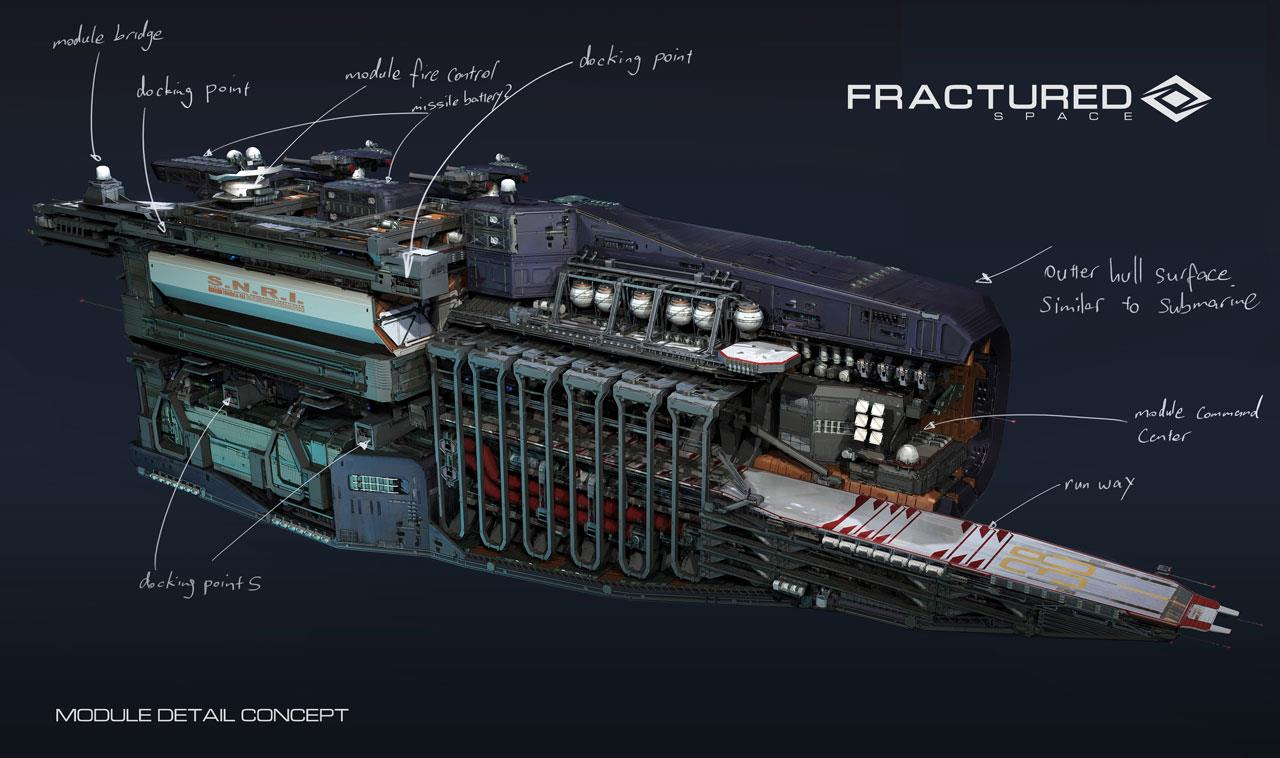 Fractured space concept art showcases ships and crews for Space concept