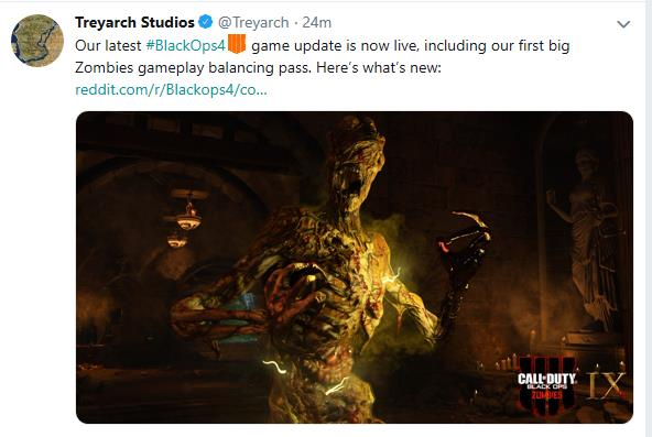 Treyarch releases third Call of Duty Black Ops 4 update