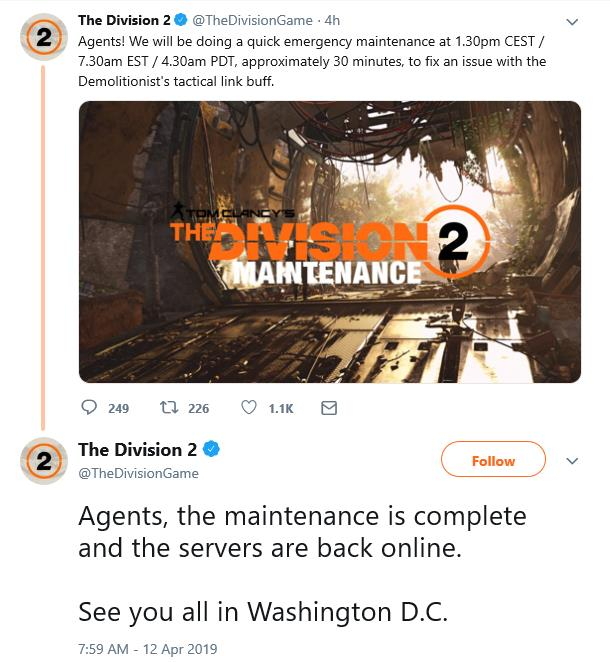The Division 2 was offline earlier for emergency maintenance