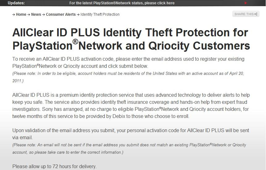 PSN Identity Theft protection offers should be arriving - Gaming Nexus