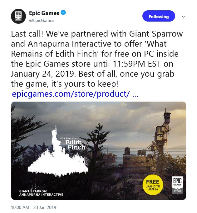 Last Day to grab free copy of What Remains of Edith Finch is